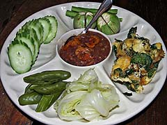 Appetizer of vegetables with shrimp dip