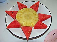 Watermelon and pineapple as edible art